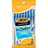 BIC Round Stic Grip Xtra Comfort Ball Pen, Medium (1.2 mm), Blue, 8-Count (96 Pens)