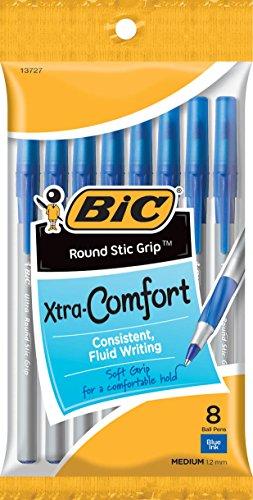 BIC Round Stic Grip Xtra Comfort Ball Pen, Medium (1.2 mm), Blue, 8-Count (96 Pens)
