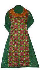 Phulkari Craft Women's Cotton Unstitched Kurti (PC0019_Green_Free Size)