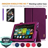 Purple Executive Multi Function Standby Leather Case for the New Kindle Fire HD 7