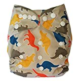 Ecoable All-In-One Bamboo Inner Cloth Diaper/Sewn-In Insert, Dino