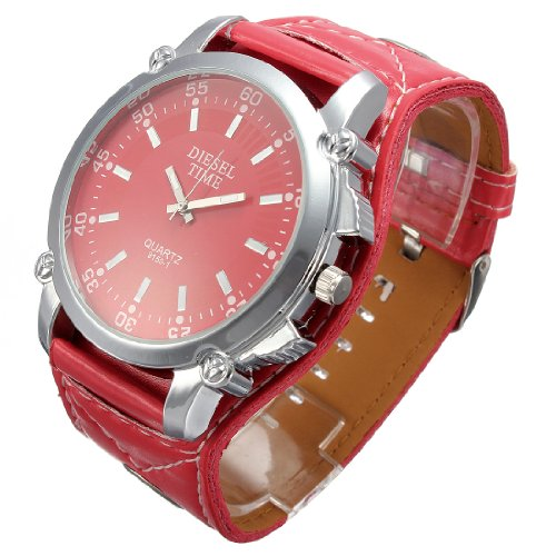 Fashion Unisex Rock Punk PU Leather Band Big Dial Quartz Wrist Watch Gift red Colors
