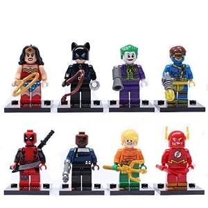 Benjour The Avengers super heroes minifigures 8pcs per set Wonder Woman Spider Man Bat Man Deadpool The Flash Cat Wonman Clown