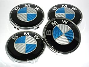 4 BMW Blue Bleu Carbon Fibre Alloy Wheel Centre Caps Hub Cover Badges Emblem / 4 CENTRES ROUES CACHES JANTES BMW (68mm diamètre)