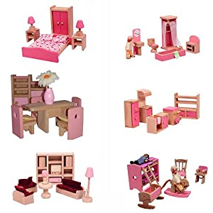 Mamakiddies Wooden Doll House 40 Plus Furniture And Dolls Pink Toys Games