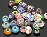 50 Piece Lot Lampwork Murano Glass European Mix Beads- Compatible with Most Major Charm Bracelets