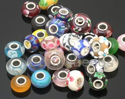 50 Piece Lot Lampwork Murano Glass European Mix Beads- Compatible with Most Major Charm Bracelets (Glass Bead Supplies compare prices)