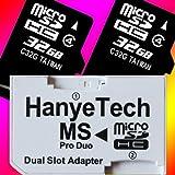 HanyeTech MS ProDuo�Ѵ������ץ� + ��� ��® Class4 microSDHC 32GB x2�դ� �Х륯��