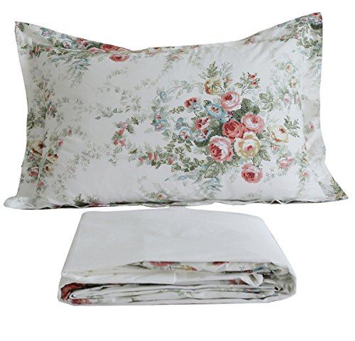FADFAY Vintage Rose Floral Bed Sheet Set Cotton Bedsheet Queen Size (Shabby Chic Sheets compare prices)