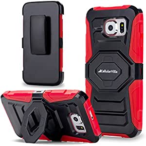 Galaxy S6 Case, Cellularvilla S6 Case [Heavy Duty] [Hard Soft] Hybrid Armor Rugged Case with Holster Shell [Belt Clip] Swivel Kickstand Cover For Samsung Galaxy S6 SM-G920 (Red Black)