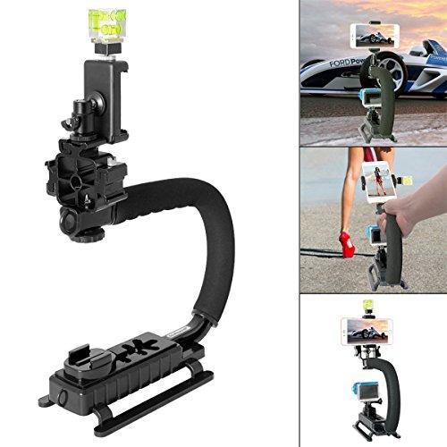 Fantaseal-Kamera-Stabilisator-DC-DV-Kamera-Steadycam-Kamera-Stabilizer-Halterung-Handgriff-C-Stabilisator-Niedrige-Position-Filmen-System-Stielhalterung-Halter-mit-Monitor-3-Adapter-Blitzen-Sockel-3-A