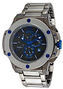 Geneva #9101092 Men's Bold Collection Tungsten Stainless Steel Combo Swiss Chronograph Watch