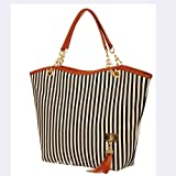 Tobey New Fashion Stripe Design Women Street Snap Candid Tote Single Shoulder Canvas Bag Handbag Three Colors Available Red Blue Black (Black)
