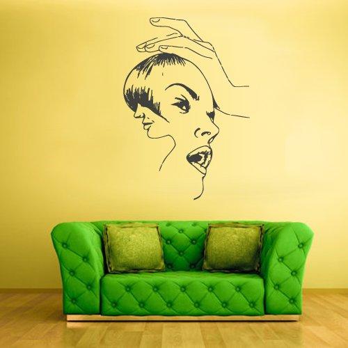 Wall Vinyl Sticker Decals Decor Art Bedroom Design Hair Style Salon Dresser Woman Face (Z2344) front-921258