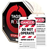 "Accuform Signs TAR472 Tags By-The-Roll Lockout Tags, Legend ""DANGER DO NOT OPERATE EQUIPMENT LOCKED OUT BY"", 6.25"" Length x 3"" Width x 0.010"" Thickness, PF-Cardstock, Red/Black on White (Roll of 250)"