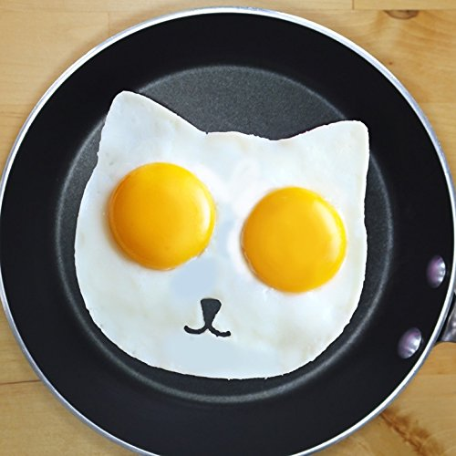 Cat Egg Mold By Egg Addiction ● Perfect Ring Molds for Fried Sunny Side up Eggs ● Made Using Only Eco-friendly Food Grade Nonstick Silicone ● Best New Fun Breakfast Kitchen Accessory (Egg Sunny Side Up compare prices)