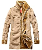 Mens Fur Air Force Pilot Motorcycle Leather Jacket Coat Trench Parka Outwear by NYC Leather Factory Outlet