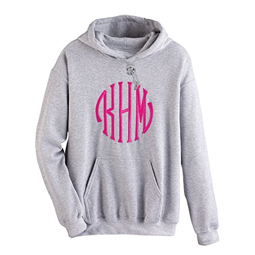 Monogrammed Hoodie - Custom Embroidered - Gray