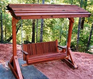 Forever 5 Foot Old Redwood Porch Swing With Roof