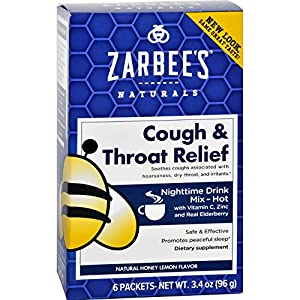 2Pack! Zarbee's Cough and Throat Relief Drink Mix - Nighttime Supplement - 6 Packets
