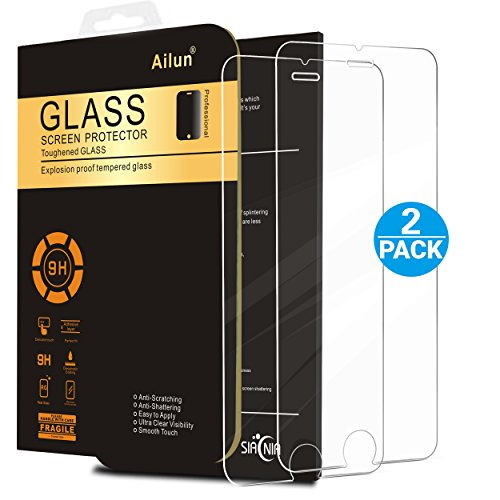 iPhone 7 Screen Protector,[4.7inch][2 Packs]by Ailun,2.5D Edge Tempered Glass for iPhone 7,iPhone 6/6s,Bubble Free,Anti-Fingerprint,Oil Stain&Scratch Coating,Case Friendly-SIANIA Retail Package