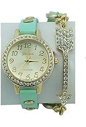 Women's Geneva Mint Green Wrap Watch Crystal Arrow Accent Crystal Bezel