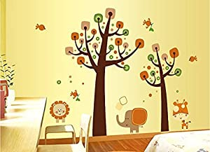 Tarmader Brown Tree Wall Decal with Birds, Lion Elephant Wall Decal, Cartoon Animal Wall Sticker, Kids Children Nursery Wall Decal Wall Mural by Tarmader