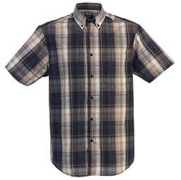 Gioberti Mens Casual Plaid Short Sleeve Button Down Dress Shirt, Khaki / Navy, XX Large