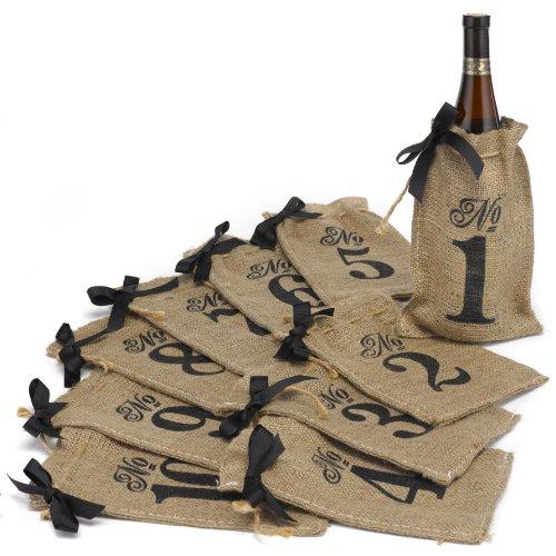 Hortense B. Hewitt Burlap Table Number Wine Bags Wedding Accessories, Set of 10