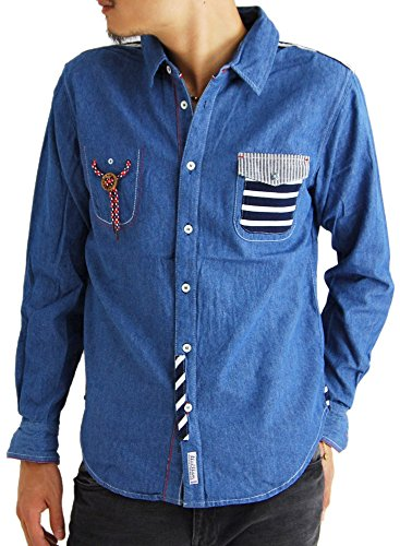 (アーケード) ARCADE 3color メンズ 長袖 メンズシャツ ストライプ ボーダー ステッチ デニムシャツ