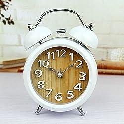 Alrens(TM) Two Bells White Numbers 3D Table Clock Vintage Alarm Clocks Silent Desktop Clock Bedroom Use Home Decoration Desk Clocks
