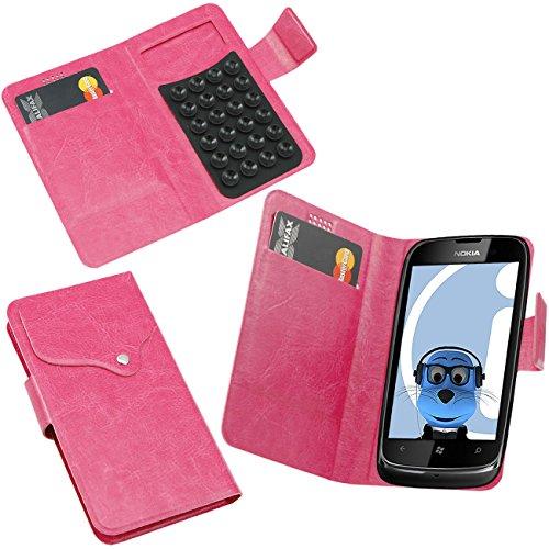 iTALKonline Nokia Lumia 610 Rosa Super Slim PU Leder Exekutive Multifunktions Mappen Kasten Abdeckung Veranstalter Flip mit Kredit / Visitenkartenetui - Saugnapf Design