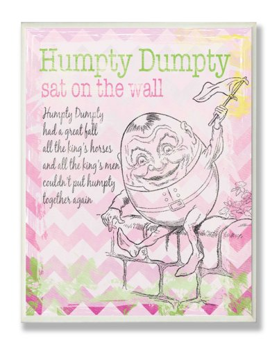 The Kids Room by Stupell Humpty Dumpty Sat on a Wall Nursery Rhyme with Pink Chevron Rectangle Wall Plaque