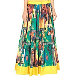 Admyrin Women's Green and Yellow Georgette Skirt