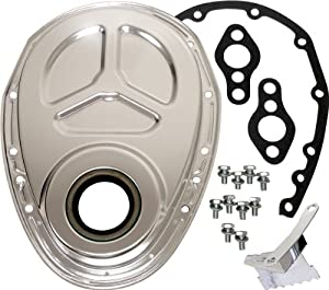 Chevy Small Block 283-305-327-350-400 Aluminum Timing Chain Cover Set (Roller Cam) - Silver