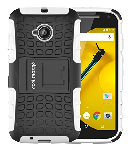Moto E 2nd Gen Protective Case / Moto E2 Back Case : Cool Mango Premium Dual Layer Armor Protection Case with Kickstand for Moto E 2nd Generation / E2 (3G & 4G Models) - White