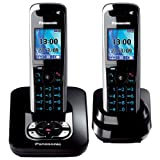 Panasonic KX-TG8422EB Colour DECT Twin Phone With Answer Machine - Blackby Panasonic