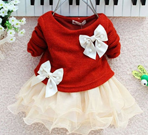 Juicart Baby Girls Dresses Long Sleeve Crochet Sweater Tops Lace Bowknot Tutu Clothing (12-18 Months, Red)