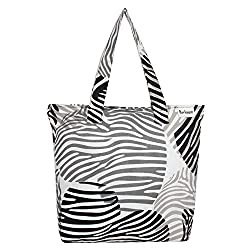 Anekaant Zebra Women Canvas Black Tote bag
