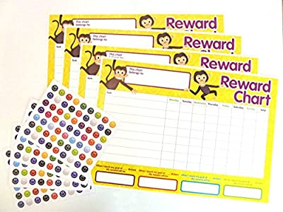 4 x Childrens Reward Charts and 250 Stickers for Rewarding Kids Good Behaviour (pack of 2)