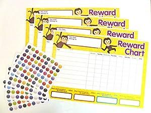 (1) 4 x Childrens Reward Charts and 250 Stickers for Rewarding Kids Good Behaviour
