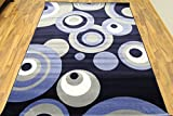 2529 Blue Gray White 7'10x10'6 Modern Abstract Area Rug Carpet