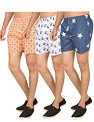 Truccer Basics Mens Printed Cotton Boxers Pack Of 3 - B017B796FY