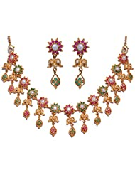 Gehna Pearl, Emerald & Ruby Color Stone Studded Necklace & Earring Set Made In Metal