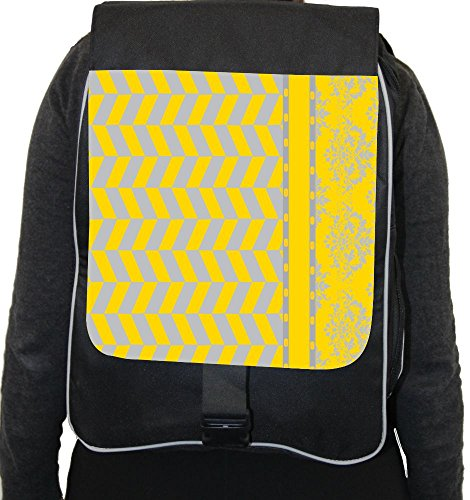 Rikki Knighttm Damask Houndstooth Black Yellow Back Pack front-595942
