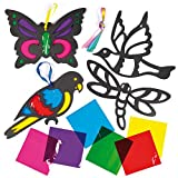 Flying Animals Stained Glass Effect Decorations for Children to Make - Pack of 6