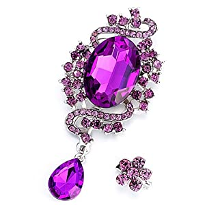 Pugster Romantic Classic February Birthstone Amethyst Crystal Flower Set Brooches And Pins