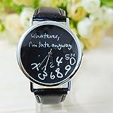 Fairy Season Unisex Frauen M�nner whatever i'm late anyway Liebhaber Geschenk Damenuhr Herrenuhr Lederuhr Quarzuhr Armbanduhr(schwarz)