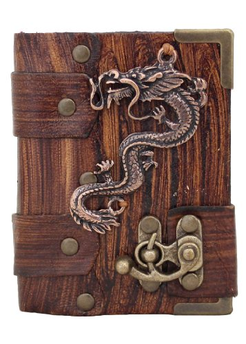 handmade-chinese-dragon-pendant-on-a-brown-leather-journal-with-lock-sketchbook-leatherbound-noteboo