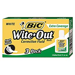 BIC - Wite-Out Extra Coverage Correction Fluid, 20 ml Bottle, White - 3/Pack